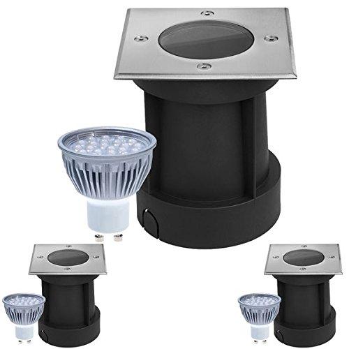 3er Set LED Bodeneinbaustrahler Set - dimmbar - mit dimmbaren LED GU10 Leuchtmitteln von LEDANDO 5W warmweiß - eckig- IP65 - Blende Edelstahl 316 belastbar 1t 50W Ersatz - 60° Abstrahlwinkel - A Bodeneinbauleuchte Bodenleuchte Bodenlamp