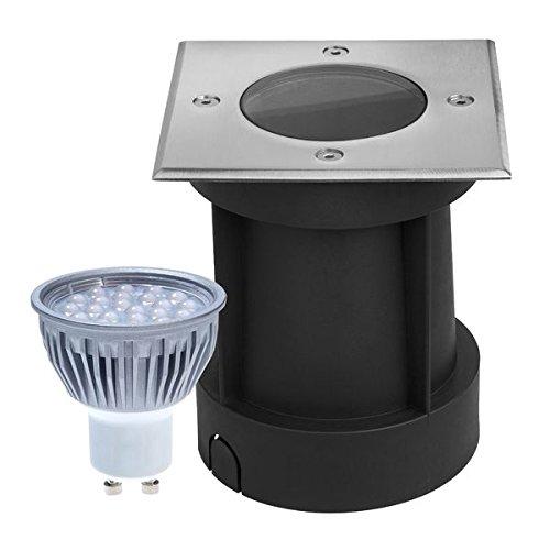 LED Bodeneinbaustrahler Set - dimmbar - mit dimmbaren LED GU10 Leuchtmitteln von LEDANDO - 5W - warmweiß - eckig- IP65 - Blende Edelstahl 316 - belastbar 1t 50W Ersatz - 60° Abstrahlwinkel - A Bodeneinbauleuchte Bodenleuchte Bodenlampe