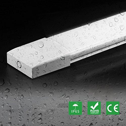 10er Ultraslim 06m LED Feuchtraumleuchte mit 18W 1500LM Neutralweiß Wasserdicht IP65 für Garage Lager Fabrik Badzimmer