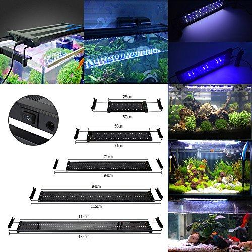 GreenSun 18W Aquarium Beleuchtung LED Aquariumlicht Aquariumleuchten Aquariumlampen 1082835SMD 90 weiß 18 blau Einstellbare Länge für Fisch Tank 715cm-915cm