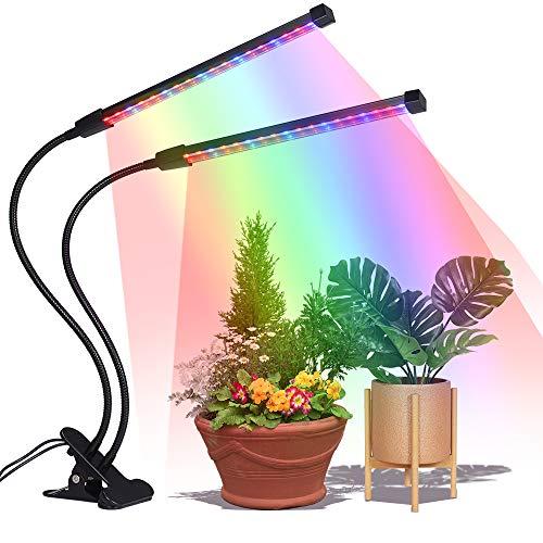 LED Pflanzenlampe Tomshine 36 LED 18W Pflanzenleuchte Grow Light Lampe Vollspektrum 3 Timer Funktion 3H9H12H 5 Dimmbare Helligkeiten einstellbar Doppelkopf Wachtumslampe für Pflanzen Wachstum