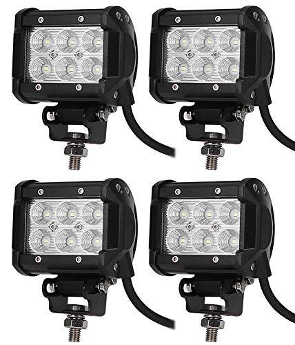 Leetop 4X 18W LED Arbeitsscheinwerfer 6000K 12V 24V Arbeitslicht Offroad Flutlicht Reflektor Scheinwerfer Arbeitsscheinwerfer IP67