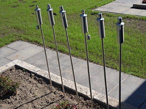 12 x Gartenfackel Ölfackel Edelstahl Fackeln XXL 120 cm rostfrei wetterfest - Garten Fackel in Premium Qualität mit Metallerdspieß weitere Gartenfackeln erhältlich