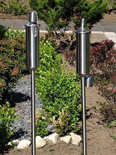 Tourwell Vertrieb 2 x Gartenfackel Ölfackel Edelstahl Fackeln XXL 120 cm rostfrei wetterfest - Garten Fackel in Premium Qualität mit Metallerdspieß weitere Gartenfackeln erhältlich