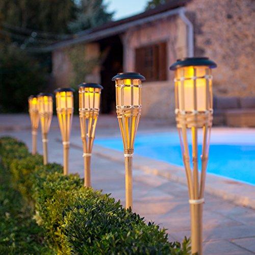 2er Set LED Solar Bambus Gartenfackeln 82cm Lights4fun