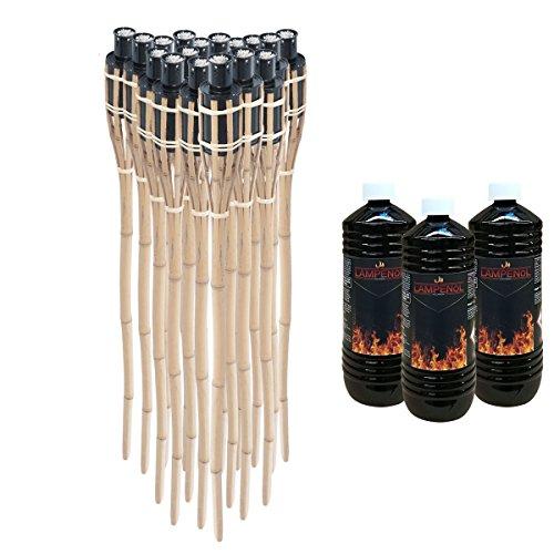 DXP 12 x Gartenfackel Bambusfackel 90cm mit 3 x 1 Liter geruchsloses Lampenöl hochgereinigt
