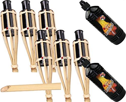 Gartenfackel Garten Bambusfackel Bambusfackeln Gartenfackeln 90cm Moritz Öllampen Bambus Deko Fackel incl 2 Liter Lampenöl 6 Fackeln und 2 X Lampenöl