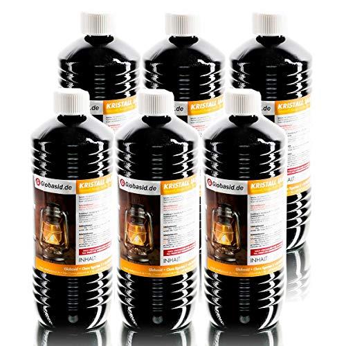 Lampenöl 6 x 1 Liter hochrein rauchfrei geruchsfrei Brennstoff für Gartenfackeln Öl-Lampen Öllaternen Bambusfackeln Wandfackeln Campingkocher uvm 1Liter Flaschen für handliche und sichere Anwendung
