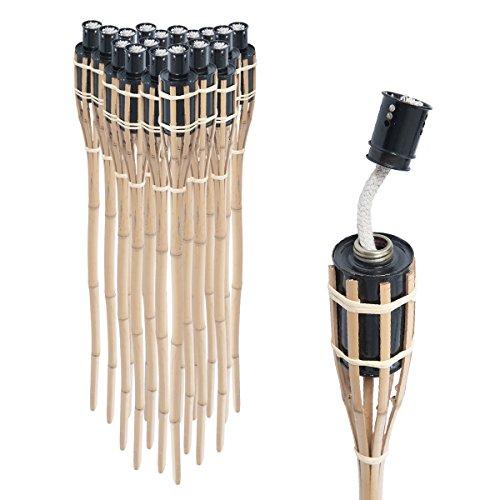 Pre&Mium 18 Stück Gartenfackel Bambus Draußen-Fackeln Fackeln Gartenfackel 90CM mit Sturmverschluss Dochtschutz Deko