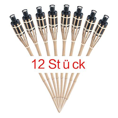 RMAN Gartenfackel Bambus Bambusfackel Garten Fackel Öllampen mit Sturmverschluss Dochtschutz 90cm12 Stück