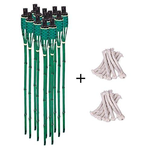 DXP Bambusfackel Gartenfackeln 90cm Grün mit Ersatzdochte für Gartenfackel Bambus Garten Fackel Deko