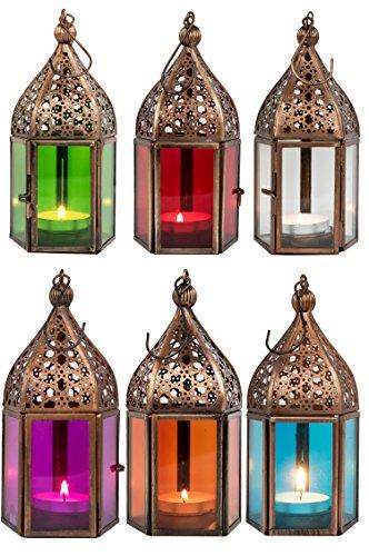 Orientalische Laternen 6 Set Laterne Meena bunt 16cm  6x Orientalisches Windlicht aus Metall Glas in 6 Farben  Marokkanische Glaslaterne für draußen als Gartenlaterne Innen als Tischlaterne