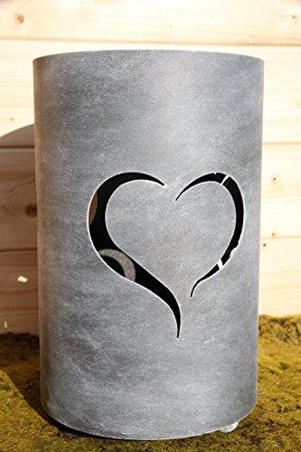 Bluemelhuber Metall Windlicht Herz Grau Antik Shabbychic Metall Lampe Feuer Fackel
