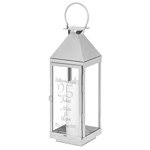 Geschenke 24 Hochwertige CILIO Laterne zur Silberhochzeit mit Gravur 60cm hoch - personalisiertes Geschenk zum 25 Hochzeitstag für Ehepaare - graviert Werden 2 Namen  1 Datum