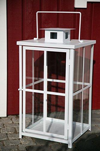 KUHEIGA Schwere stabile Laterne Weiß H 60cm Windlicht Stalllaterne Metalllaterne