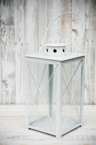 KUHEIGA Stabile Stalllaterne Laterne Gartenlaterne Weiß Höhe 40cm  60cm