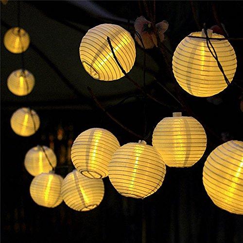ATPWONZ Solar Outdoor Lichterkette 635 Meter 30 LEDs Lampions Laterne Solarbetrieben Lichterkette Wasserfest Weihnachten Dekoration für Garten Terrasse Hof Haus Weihnachtsbaum Feiern - Warmweiß