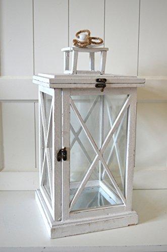 Laterne Holz Lampe Gartenlaterne Windlicht eckig weiß grau ca 25x25x52cm Landhausstil Deko Shabby Garten Haus Gartendeko Gartenlaterne Kerzenhalter Kerzenleuchter Kerzenständer