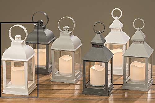 Meinposten Laterne LED mit Timer warmweiß Kerze Windlicht grau weiß Deko H 22 cm Batterie Modell 1