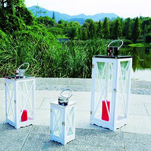Mojawo 3er Set Luxus XL Gartenlaterne Holz und Edelstahl Dach Windlicht Laternen Kerzenhalter Höhe 365171 cm Weiß