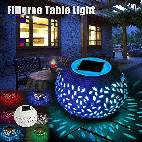 Somedays Solartischleuchte LED-Solar-Laterne Clay Lantern Solartischleuchte Solar-Dekoleuchte aus Porzellan mit Farbwechslerweißer LED Windlicht Solarleuchten 4 Stück