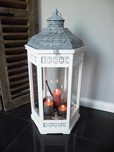 XXL Holz Laterne Windlicht Metalldach weiß 78 cm - 6eckig - Landhaus Shabby Chic
