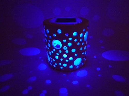 LED Solar Windlicht Kreise Keramik weiß Solarleuchte Dekoration Dekoleuchte