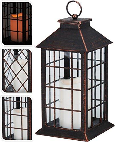 Laterne H28cm mit LED Kerze mit Flacker-Effekt Laterne Windlicht Gartenlaterne Kerzenhalter Gartenbeleuchtung Dekoration - Kupfer Antik-Optik Gerade