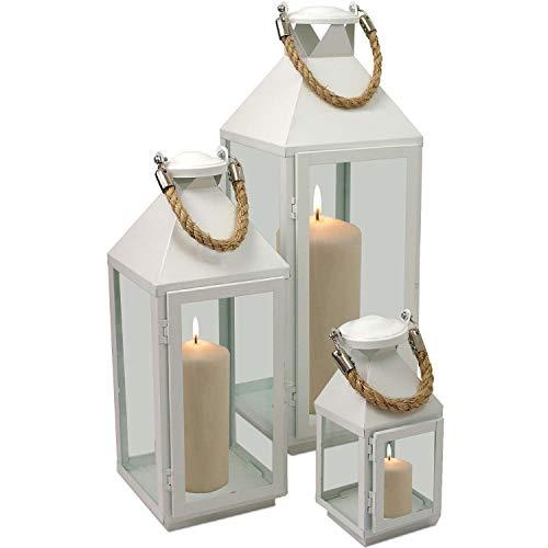 Multistore_2002 3tlg Modernes Laternen-Set in Weiß H244155cm Metalllaterne Gartenlaterne Laterne Windlicht mit Aufhängung Metallgestell mit Glasfenstern Kerzenhalter Gartenbeleuchtung Dekoration