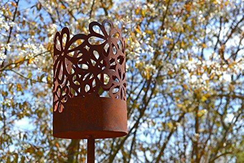 Unbekannt Windlicht Hippie inkl Kerze Rost Edelrost Metall Deko Dekoration Gartenstecker Rostfigur Deko-Idee Dekowindlicht Rostdeko Gartendeko Geschenk-Idee Geschenk