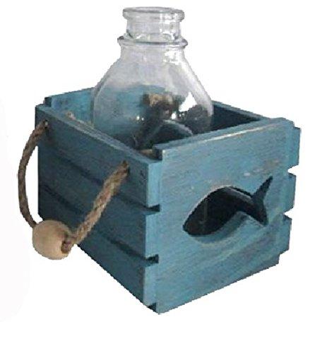 osters muschel-sammler-shop Holzbox mit Glas-Flasche in Beachoptik und JutebändernMotiv Fisch - Auch als Windlicht zu benutzen - Maritime Tisch-Dekoration für Drinnen und Draußen Blau
