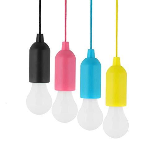 Mobestech 4 Stücke Tragbare LED Zugschnur Glühbirne Hängen Lampe Camping Laterne für Garten Terrasse und Zelt Outdoor IndoorLighting Blue Yellow Purple and Black
