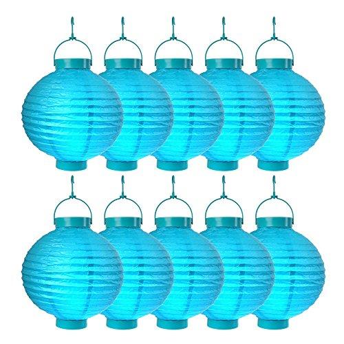 Schramm Onlinehandel SO 10er Pack LED Lampions Blau Laterne Lampion Garten Balkon Terrasse Party Beleuchtung Dekoration