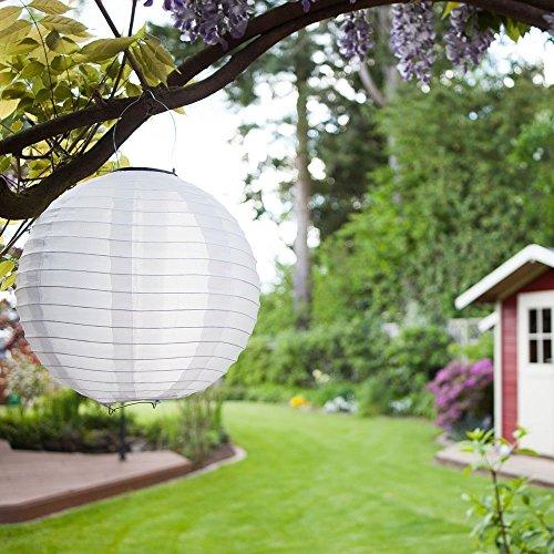Solar Lampions 5er Set Led Laterne Wasserfest IP55 für Garten Deko Terrasse Hof Haus Weihnachtsbaum aus NylonSeide Kaltweiß Weiß