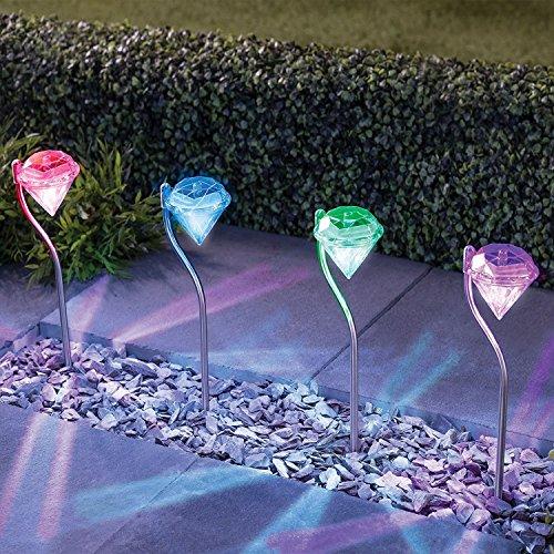 Solarlampe für Garten mit 4er-Set  Farbwechsel Edelstahl Diamant LED Solarleuchten Garten Stecker Laternen für Garten Balkon und Terrasse von NordSd