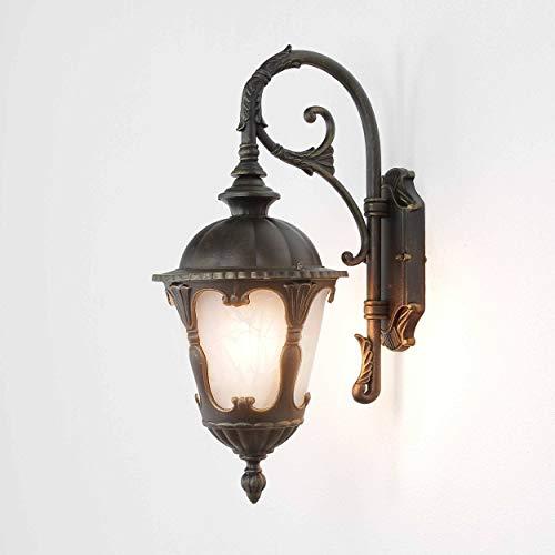 Wandleuchte aussenLampe Gold  1x E27 bis zu 60W  Laterne 46cm hochAußen LampeGarten Terrasse Hauswandleuchte