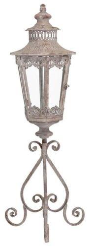 E-X Laterne auf Fuss Windlicht Orient Metall Garten Deko Antik Grau Vintage H 93cm