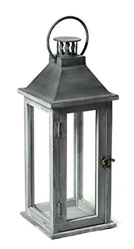 Udigde Laterne Manor Antik grau Holz 44 cm