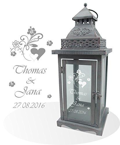 Wunderschöne Metall-Laterne mit Ornamenten grau inkl Wunschgravur Wunschtext Die Geschenkidee zBzur Hochzeit Geburtstag