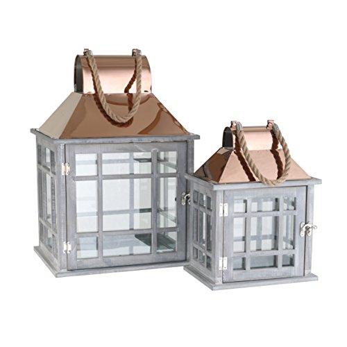 greemotion Laternen-Set grau 2-teilig Deko-Laternen aus Holz mit Metalldach in Kupfer-Optik Gartenlampe mit Tür Deko-Lampe mit praktischem Seilgriff geeignet für Kerzen und Teelichter