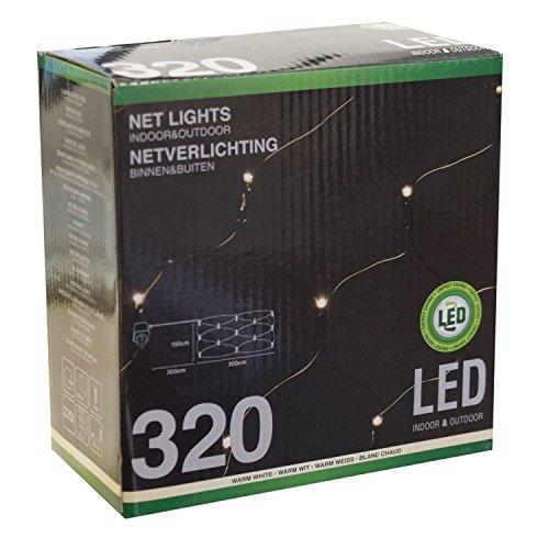 Atlantis Elektronik Lichterkette Lichternetz mit 320 LEDs warmweiß  300x150cm  Innen Außen