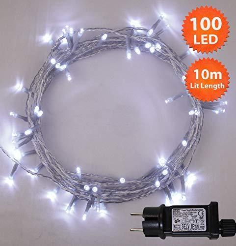 Lichterkette 100 LED Weiss Innen Energien betriebene LED feenhafte Lichter Ideal für Weihnachtsbaum festliche HochzeitsGeburtstagsfeier Dekorationen LED Schnur Lichter