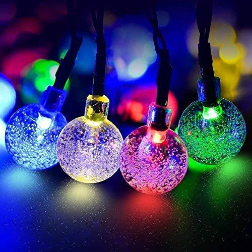 ECOWHO Solar Lichterkette Außen mit LED Kugel 75m 40 LED Batteriebetriebene String Lights für Innen Garten Hochzeit Party WeihnachtenBuntes