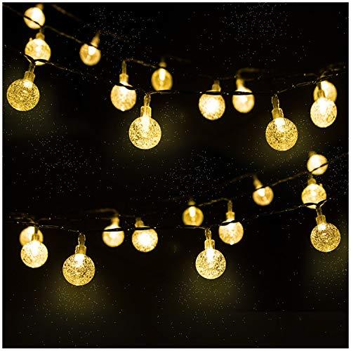 LED Solar Lichterkette Kristall Kugeln 45 Meter 30er Warmweiß MrTwinklelight Außerlichterkette Deko für Garten Bäume Terrasse Weihnachten Hochzeiten Partys Innen und außen