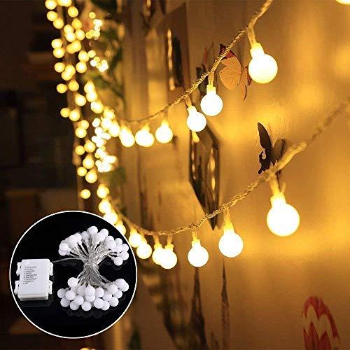 Lichterkette 40 LED GREEMPIRE Warmweiß Lichterkette 45M Batterie Kugel Partylichterkette Innen und Außen IP65 Wasserdicht für Weihnachten Party Hochzeit Weihnachtsbeleuchtung Energieklasse A