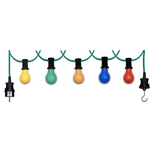 20m Illu Leitung Lichterkette für innen u außen inkl 20 Fassungen  Glühbirnen E27 25W bunt gemischt