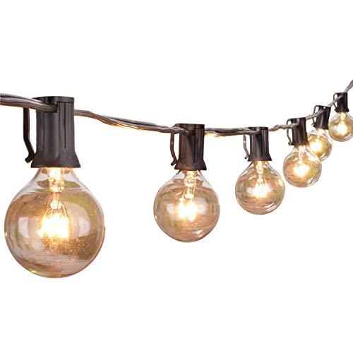G40 Globe Lichterkette-76Meters Globus Schnur Licht mit 27 Glühbirnen-InnenAußen Hängendes Licht String für Patio Café Bars Garten Hinterhof Gazebos Schlafzimmer Pergola Dekoration Schwarz