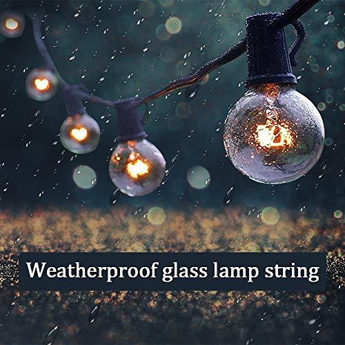 Lichterkette Glühbirnen Außen Lichterkette Außen MMTX G40 25FT Lichterkette Garten Outdoor Wasserdicht 25 Birnen2 Ersatzbirnen für Weihnachten Hochzeit Party Innenhöfe Dekoration