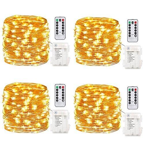 GDEALER 4er 5M 50 Micro LED Lichterkette Batteriebetrieben mit Fernbedienung und Timer IP65 Wasserdicht Kupferdraht 8 Modi Außen Innen für Party Garten Weihnachten Hochzeit Deko