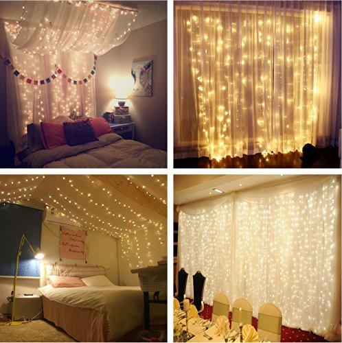 Lichterkettenvorhang 300 LEDs 8 Modi 3m x 3m IP44 wasserdichte Sterne LED Lichterkett Weihnachtsbeleuchtung  Schlafzimmer Dekoration  Party Hochzeit etcWarmes Weiß